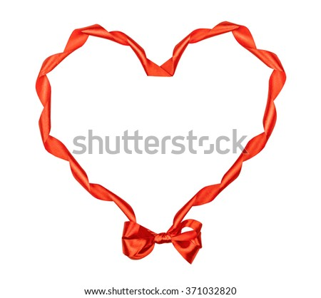Satin red ribbon in the form of heart with a bow, for St. Valentine's Day isolated on the white - stock photo