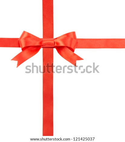 satin ribbon with a bow isolated on white background