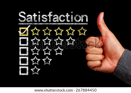 Satisfaction concept is on the blackboard with thumb up hand aside. - stock photo