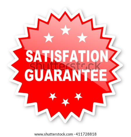 satisfaction guarantee red tag, sticker, label, star, stamp, banner, advertising, badge, emblem, web icon - stock photo