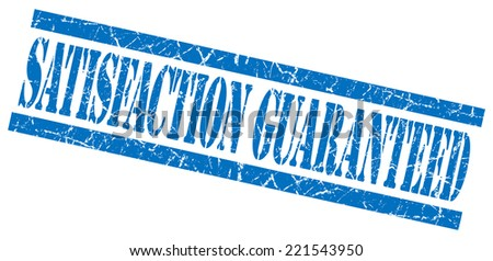 satisfaction guaranteed blue square grunge textured isolated stamp - stock photo