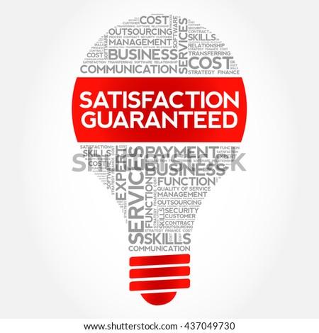Satisfaction Guaranteed bulb word cloud, business concept - stock photo