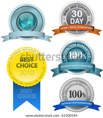 Satisfaction Guaranteed Sign Set (vector version in portfolio) - stock photo