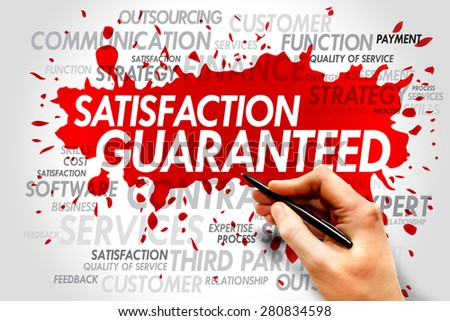 Satisfaction Guaranteed Word Cloud, business concept - stock photo