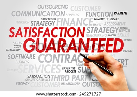 Satisfaction Guaranteed word tag cloud, business concept