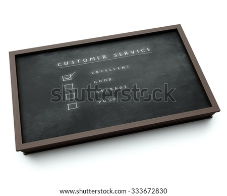 Satisfactory Customer Service 3d visualization of a black board with customer service evaluation form tick box - stock photo