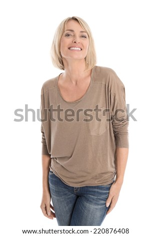 Satisfied attractive middle aged isolated smiling blond woman. - stock photo