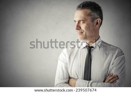 Satisfied businessman  - stock photo