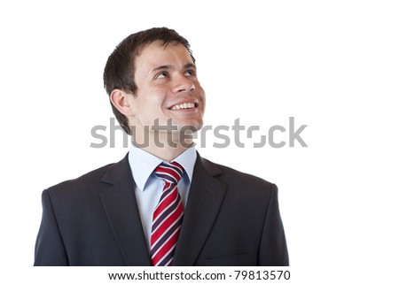 Satisfied businessman looks into future confident.Isolated on white background - stock photo