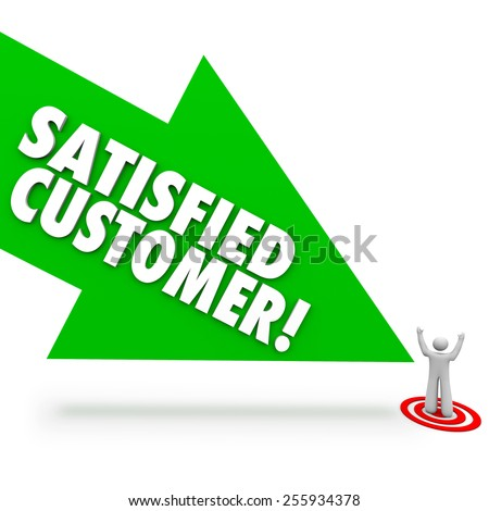 Satisfied Customer words on a green arrow pointing at a person who is happy or content with service or support from your company or business - stock photo