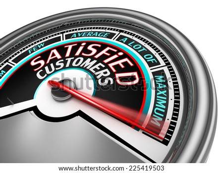 satisfied customers conceptual meter indicate maximum, isolated on white background