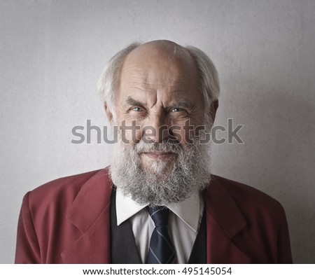 Satisfied elderly man