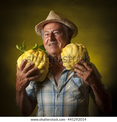 Satisfied farmer portrait with two giant cedars fruit around the neck.  Black and yellow background