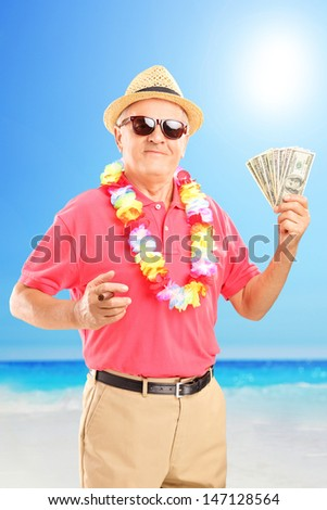 Satisfied gentleman holding a cigar and us dollars, on a beach - stock photo