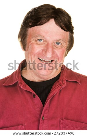 Satisfied man with big smile over white