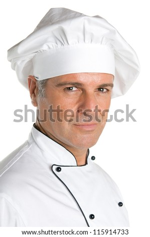 Satisfied mature chef portrait isolated on white background