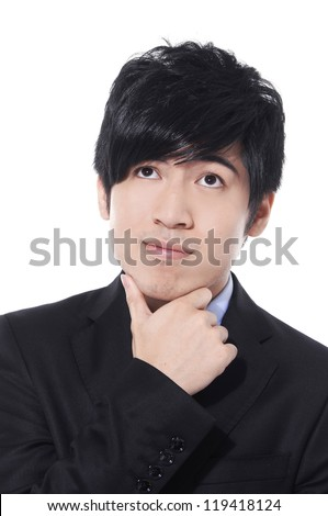 Satisfied proud business man looking at camera - stock photo