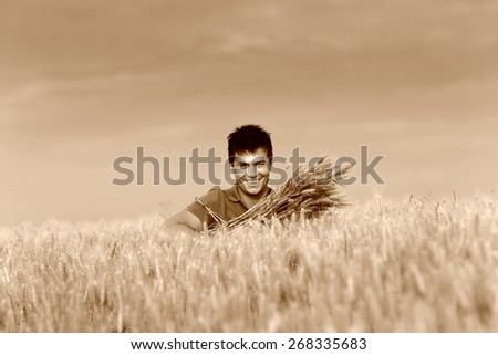 Satisfied young farmer holding bunch of ripe wheat in field, sepia image technique