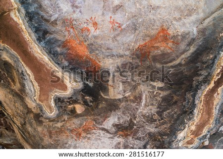 Satkunda Rock Paintings, near Bhopal, MP, India. These paintings are more than 5000 years old and are similar to Bhimbetka rock shelters, a world heritage site.