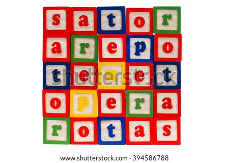 Sator square made from letter blocks - stock photo