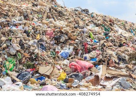 SATTAHIP CHONBURI - APRIL,20 : Closeup picture of domestic rubbish waste at landfill dumping site where is big pile rubbish at industrial area.THAILAND APRIL,20 2016