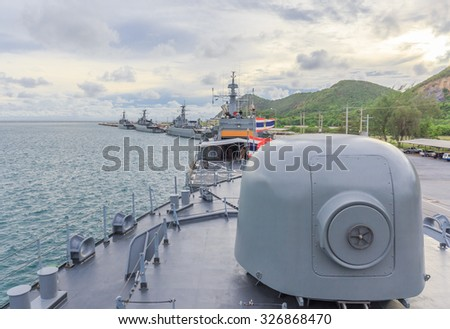 SATTAHIP CHONBURI - OCT,13 : Military ship are ready in Navy port where is located at the Navy base.There are many kind of battle ship here.THAILAND OCT,13 2015 - stock photo