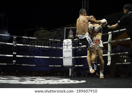 SATTAHIP, THAILAND- April 6 : Unidentified boxers compete in Thai Fight:Muay Thai World's Unrivaled Fight on  April 6, 2014 , at Chonburi ,  Thailand - stock photo
