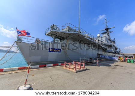 SATTAHIP, THAILAND - FEB 8: HTMS Chakri Naruebet aircraft carrier at Juksamet Port on Feb 9 in Sattahip. The port  is one of the few deep-water ports of Thailand for Naval base and commercial ships.