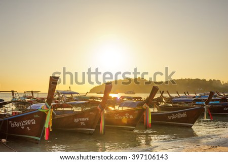 Satun Thailand - February 28 , 2014 : Lipe island, longtail boat transportation vehicles popular for tourists enjoy the natural beauty of the islands.