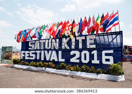 SATUN, THAILAND - March 6-2016: organizers Satun Province International Kite Kite Festival inspiring Stun 36th times between March 4 to March 6, 2016 at the RAF airfield