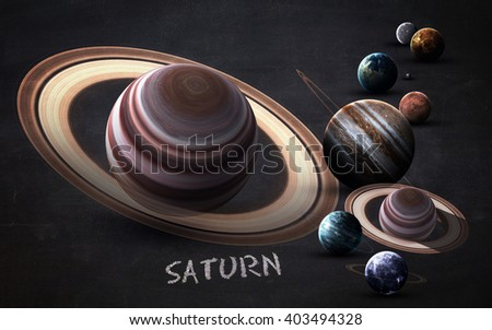 Saturn - High resolution images presents planets of the solar system on chalkboard. This image elements furnished by NASA - stock photo