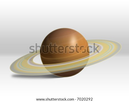 Saturn Illustration in White Room.