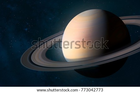 Saturn in the space abstract art. Elements of this image furnished by NASA.