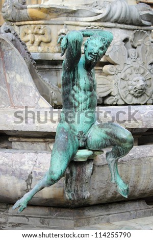 Satyr as part of the Fountain of Neptune in Florence, Italy