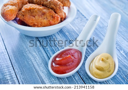 sauce and chicken - stock photo