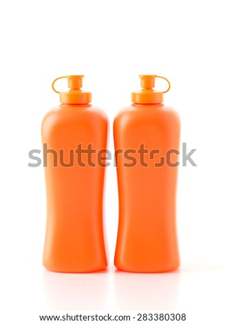 sauce bottle on white background - stock photo