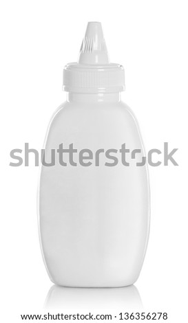 sauce, ketchup, mustard or any liquid food product container Isolated over white background - stock photo