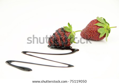 Sauce of chocolate covered strawberry
