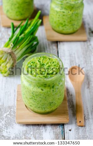 Sauce of wild garlic,Selective focus - stock photo