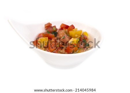 sauce on a white background in the restaurant - stock photo