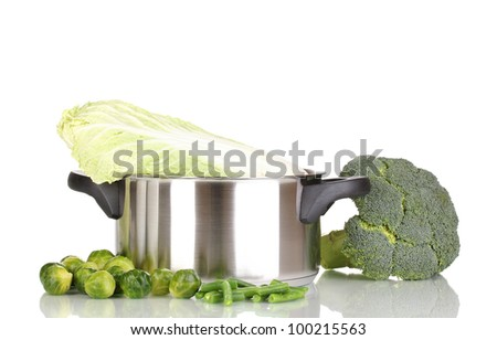 Saucepan with cabbages and broccoli isolated on white