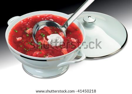 Saucepan with soup, a borshch - stock photo