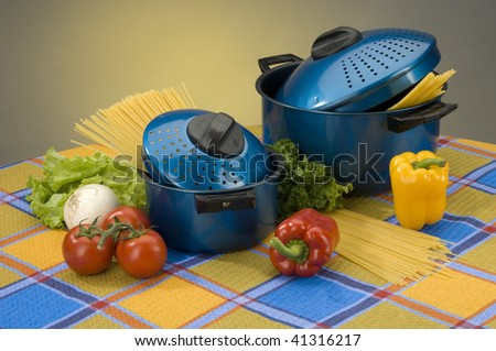 Saucepans with meal - stock photo