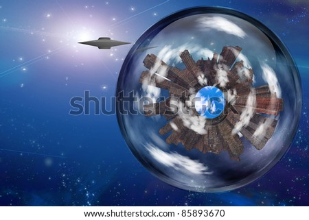 Saucer craft near large interstellar city ship - stock photo