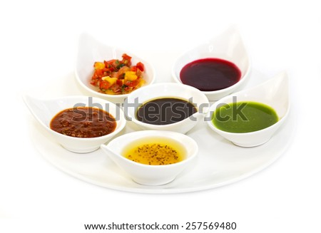 sauces on a white background in the restaurant - stock photo