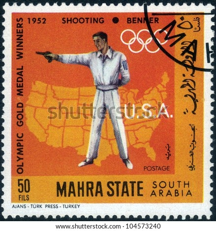 SAUDI ARABIA - CIRCA 1968: A stamp printed in Mahra State of South Arabia shows  image of american sportsman Benner, winner of the shooting , Olympic Games Helsinki, Finland, 1952, series, circa 1968 - stock photo