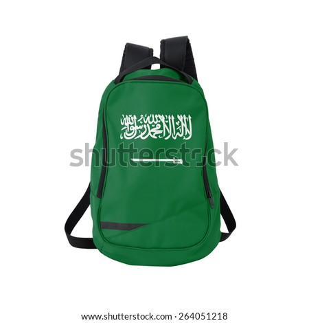 Saudi Arabia flag backpack isolated on white background. Back to school concept. Education and study abroad. Travel and tourism in Saudi Arabia - stock photo