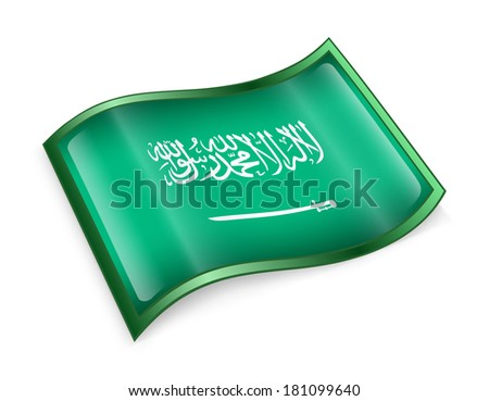 Saudi Arabia Flag Icon, isolated on white background. - stock photo