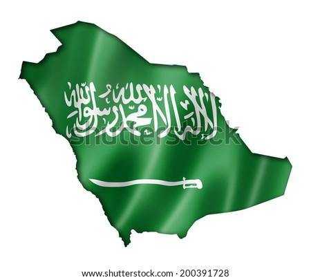 Saudi Arabia flag map, three dimensional render, isolated on white - stock photo