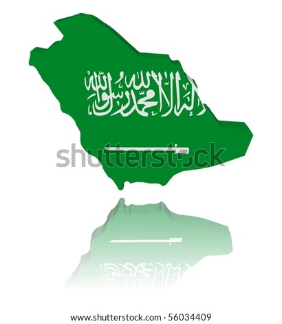Saudi Arabia map flag 3d render with reflection illustration